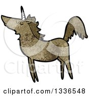 Clipart Of A Textured Brown Unicorn 3 Royalty Free Vector Illustration