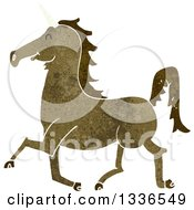 Clipart Of A Textured Brown Unicorn 2 Royalty Free Vector Illustration