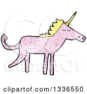 Textured Pink Unicorn With Blond Hair