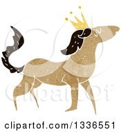 Textured Brown Unicorn Wearing A Crown