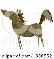 Clipart Of A Textured Brown Unicorn Royalty Free Vector Illustration