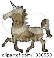 Clipart Of A Textured Brown Unicorn 4 Royalty Free Vector Illustration