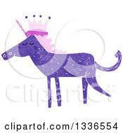 Textured Purple Unicorn Wearing A Crown