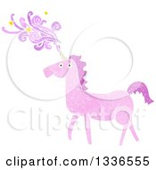 Textured Pink Unicorn With Magic Flowing From The Horn