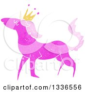 Textured Pink Unicorn Wearing A Crown