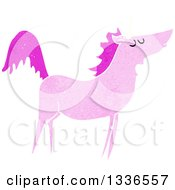 Clipart Of A Textured Pink Unicorn Royalty Free Vector Illustration