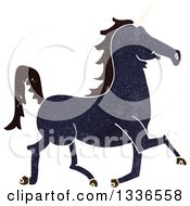 Clipart Of A Textured Black Unicorn Running Royalty Free Vector Illustration