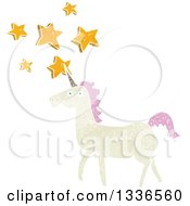 Clipart Of A Textured White Unicorn With Pink Hair And Stars Royalty Free Vector Illustration