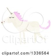Textured White Unicorn With Pink Hair 3