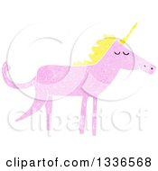Textured Pink Unicorn With A Blond Mane