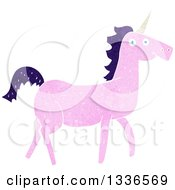 Clipart Of A Textured Pink Unicorn With A Dark Purple Mane Royalty Free Vector Illustration
