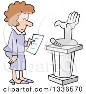 Cartoon Brunette Caucasian Woman Looking At A Hand And Foot Art Sculpture In A Gallery
