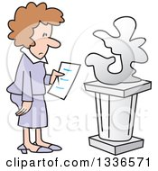 Cartoon Brunette Caucasian Woman Looking At An Abstract Art Sculpture In A Gallery