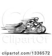 Clipart Of A Black And White Woodcut Cafe Racer Biker Speeding On A Motorcycle Royalty Free Vector Illustration