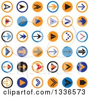Clipart Of Flat Style Arrow Round App Icon Button Design Elements Royalty Free Vector Illustration