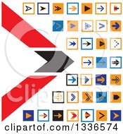 Clipart Of Flat Style Square Arrow App Icon Button Design Elements Royalty Free Vector Illustration