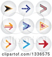 Clipart Of Arrow And Shaded Orb Round App Icon Button Design Elements Royalty Free Vector Illustration