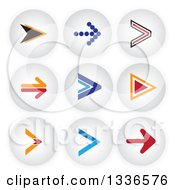 Clipart Of Arrow And Shaded Orb Round App Icon Button Design Elements 2 Royalty Free Vector Illustration