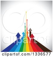 Clipart Of Colorful Arrow Paths Curving Upwards In The Distance Over Shading Royalty Free Vector Illustration