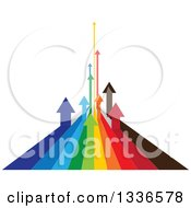 Clipart Of Colorful Arrow Paths Curving Upwards In The Distance Forming A Graph Royalty Free Vector Illustration