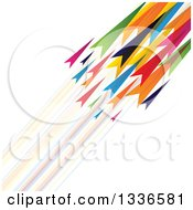 Clipart Of Colorful Arrows Shooting Diagonally Up To The Right With Blurred Trails Royalty Free Vector Illustration