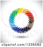 Clipart Of A Colorful Circle Logo Of Diverse Hands Over Shading Royalty Free Vector Illustration