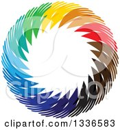 Clipart Of A Colorful Circle Logo Of Diverse Hands Royalty Free Vector Illustration