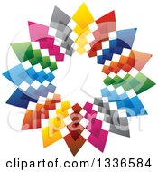 Clipart Of A Colorful Circle Logo Of Arrows Pointing Outwards Royalty Free Vector Illustration by ColorMagic