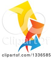 Clipart Of A Colorful Trio Logo Of Arrows Pointing Up And To The Right Royalty Free Vector Illustration
