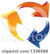 Clipart Of A Colorful Ring Logo Of Arrows Circling Royalty Free Vector Illustration