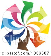 Clipart Of A Colorful Circle Spiral Logo Of Arrows Pointing Outwards Royalty Free Vector Illustration
