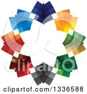 Clipart Of A Colorful Circle Logo Of Abstract Arrows Pointing Inwards Royalty Free Vector Illustration
