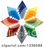 Clipart Of A Colorful Star Logo Of Arrows Pointing Outwards Royalty Free Vector Illustration