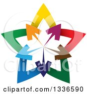 Clipart Of A Colorful Logo Of Arrows Pointing Outwards From The Center Of A Gradient Star Royalty Free Vector Illustration