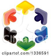 Clipart Of A Colorful Hexagon Logo Of Arrows Pointing Outwards Royalty Free Vector Illustration