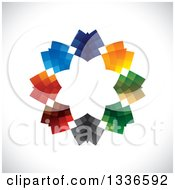 Clipart Of A Colorful Circle Logo Of Abstract Arrows Pointing Inwards Over Shading Royalty Free Vector Illustration