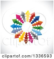 Clipart Of A Colorful Circle Logo Of Arrows Pointing Outwards On Shading Royalty Free Vector Illustration