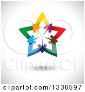 Clipart Of A Colorful Logo Of Arrows Pointing Outwards From The Center Of A Gradient Star Over Shading Royalty Free Vector Illustration by ColorMagic