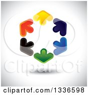 Clipart Of A Colorful Hexagon Logo Of Arrows Pointing Outwards With Shading Royalty Free Vector Illustration