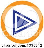 Clipart Of A Flat Style Blue White And Orange Arrow Round App Icon Button Design Element 3 Royalty Free Vector Illustration