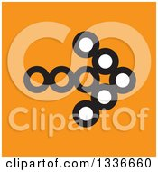Clipart Of A Flat Style Square White Black And Orange Arrow App Icon Button Design Element 3 Royalty Free Vector Illustration