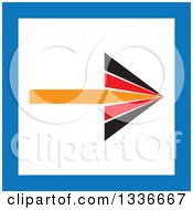 Clipart Of A Flat Style Orange Red Black White And Blue Square Arrow App Icon Button Design Element 2 Royalty Free Vector Illustration