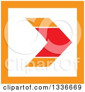 Clipart Of A Flat Style Red Orange And White Square Arrow App Icon Button Design Element Royalty Free Vector Illustration