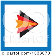 Clipart Of A Flat Style Orange Red Black White And Blue Square Arrow App Icon Button Design Element Royalty Free Vector Illustration