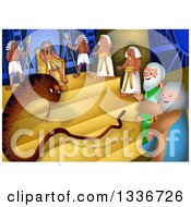 Clipart Of A Passover Scene Of Arrons Rod Changing Into A Snake Before The Pharaoh Royalty Free Illustration