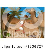 Clipart Of A Passover Scene Of Moses Fleeing Into The Desert Royalty Free Illustration by Prawny