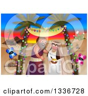 Clipart Of A Passover Scene Of Moses Marrying Against A Desert Sunset Royalty Free Illustration