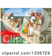 Clipart Of A Passover Scene Of The Plague Of Blood Royalty Free Illustration