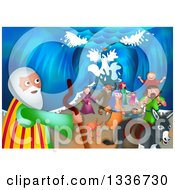 Clipart Of A Shavout Scene Of Moses A Donkey And People Of Israel Emerging From The Other Side Of The Parted Sea Royalty Free Illustration