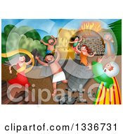 Clipart Of A Shavout Scene Of Children Of Israel Worshipping The Golden Calf While Moses Breaks The Tablets Royalty Free Illustration